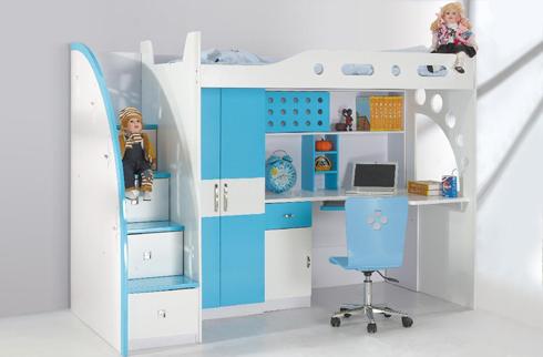 Giường tầng cho bé trai kết hợp với bàn học
