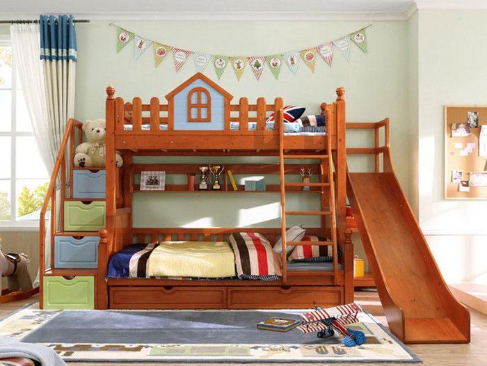 Giường tầng cho bé trai thiết kế cầu trượt