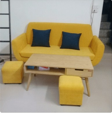 Ghế sofa văng nỉ phòng khách tone màu vàng